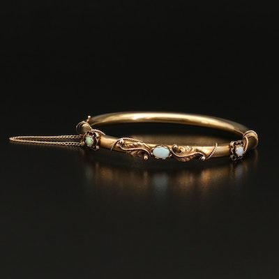 Antique Style 14K Opal Hinged Bangle with Rope Detail and Appliqué