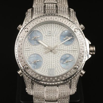 JBW Jet Setter 1.40 CTW Diamond and Stainless Steel Quartz Wristwatch