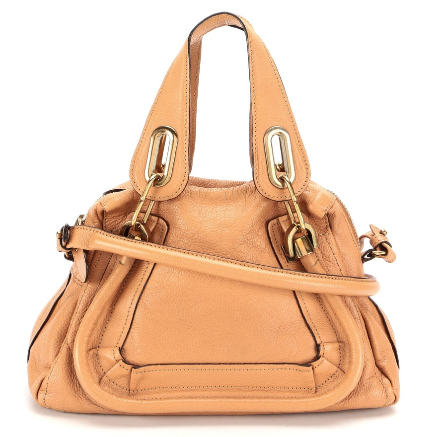 Chloé Paraty Light Brown Pebble Grain Leather Two-Way Bag