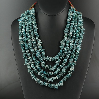 Turquoise and Coral Graduated Multi-Strand Necklace