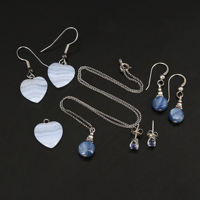 Necklaces, Earrings and Pendant with Blue Lace Agate, Sillimanite and Sterling