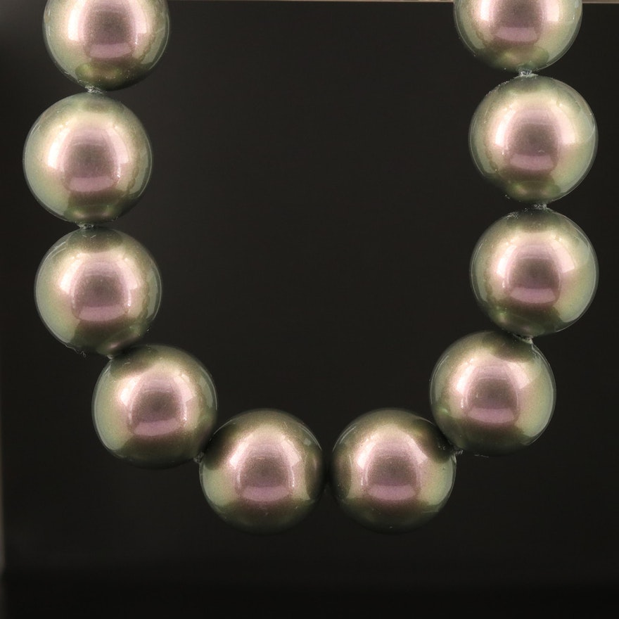 Majorica Faux Pearl Necklace with Sterling Cubic Zirconia Clasp
