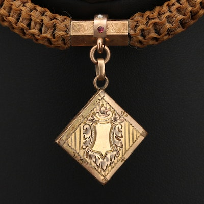 Victorian Hair and Gemstone Mourning Watch Chain