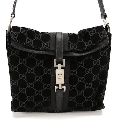 Gucci Foldover Shoulder Bag in Black GG Suede and Smooth Leather