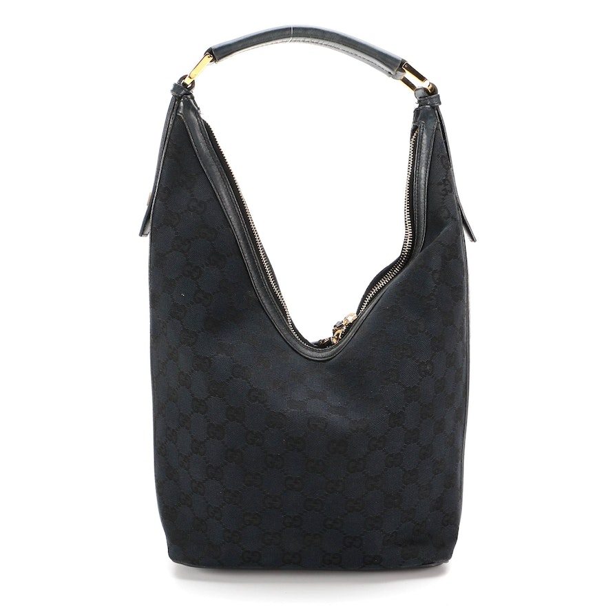 Gucci Black GG Canvas and Leather Hobo Bag