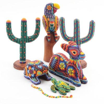 Mexican Huichol Beaded Wood Animal Figurines with Beaded Bracelet