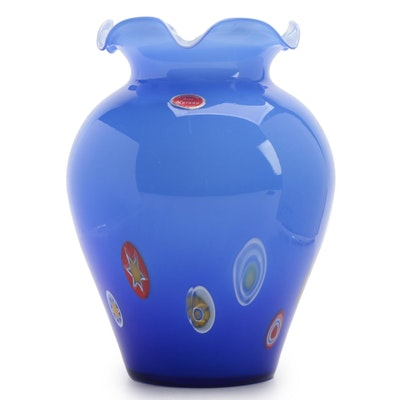Murano Blue Art Glass Vase with Millifiori and Murrine Cane Decoration