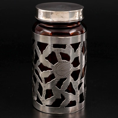 Mexican Sterling Silver Overlay Glass Vanity Jar