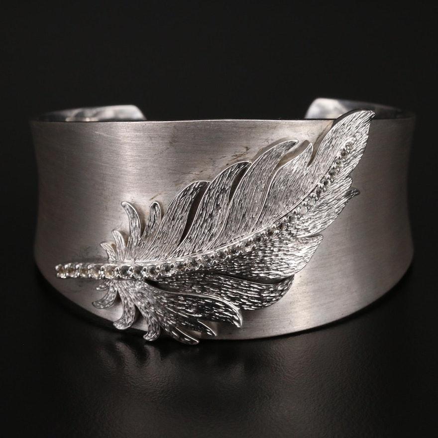 950 Silver Sapphire Feather Cuff