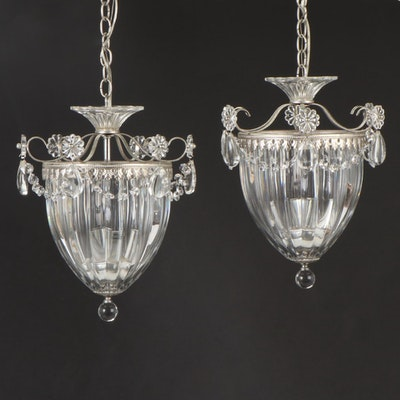 "Schonbek ""Bagatelle"" Antique Silver Finished Crystal Drop Lantern Pendants"