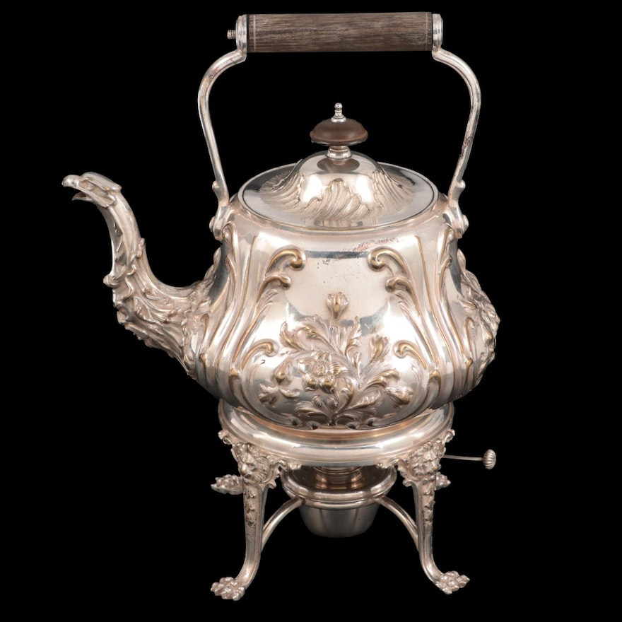 Elkington & Co. Chased and Repoussé Silver Plate Teapot and Warming Stand, 1901