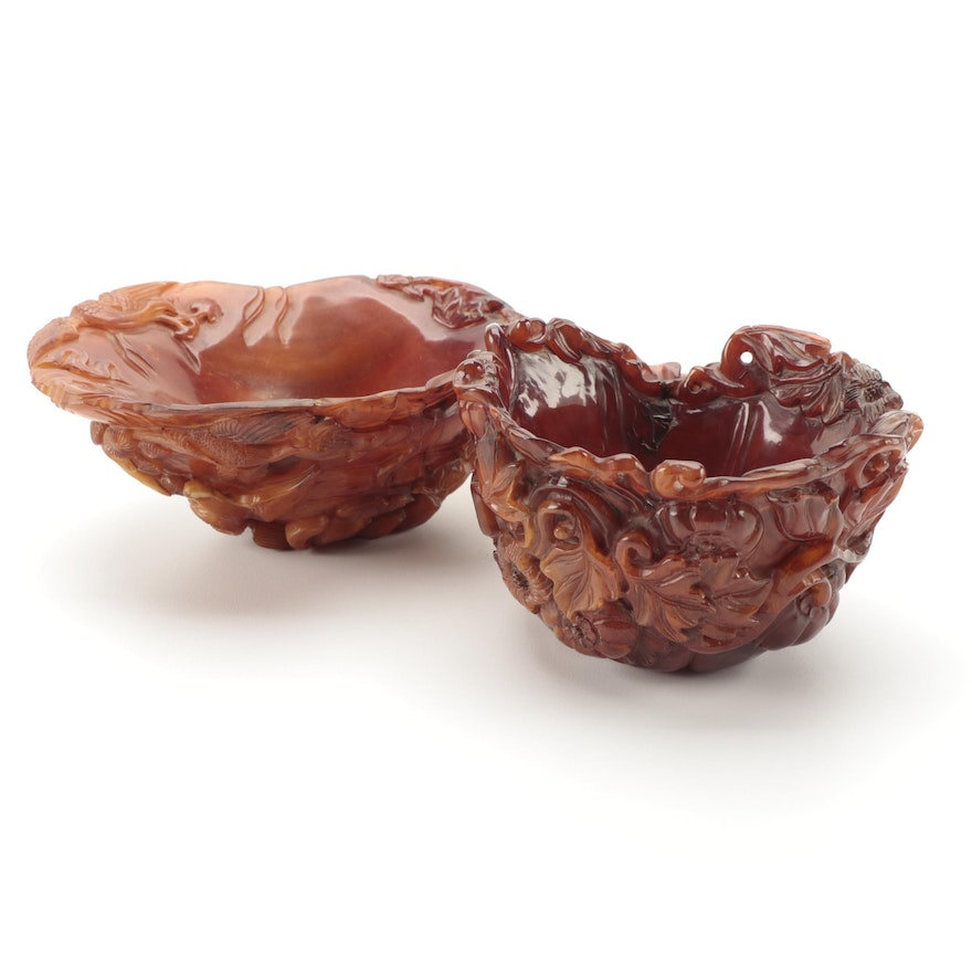 Chinese Hand-Carved Ox Horn Bowls