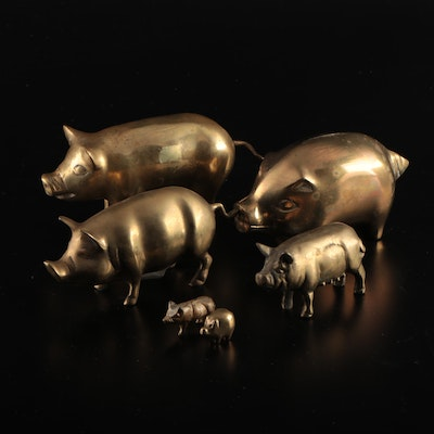 Brass Pig Figurines and Coin Bank