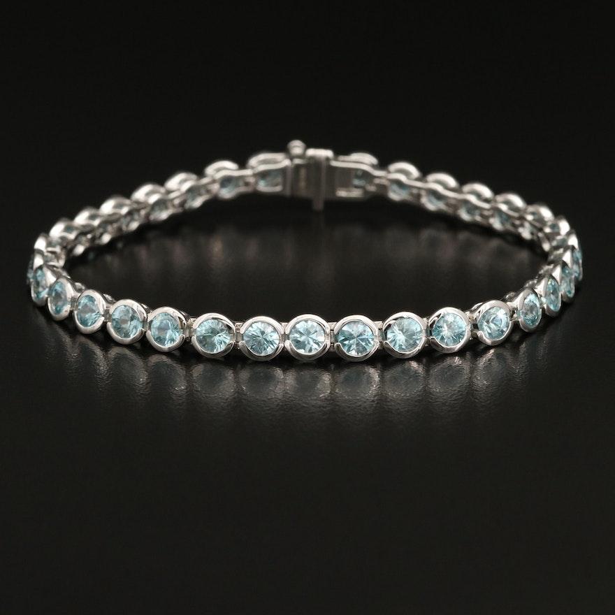 Sterling Silver Semi-Bezel Set Zircon Line Bracelet