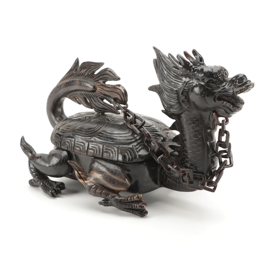Chinese Carved Horn Figural Dragon Turtle Chop Seal Case