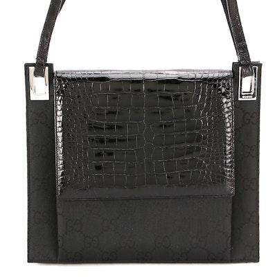 Gucci Black GG Nylon Canvas and Alligator Skin Shoulder Bag