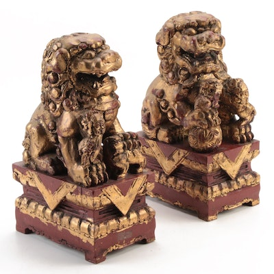 Chinese Gilded Composite Guardian Lion Figurines