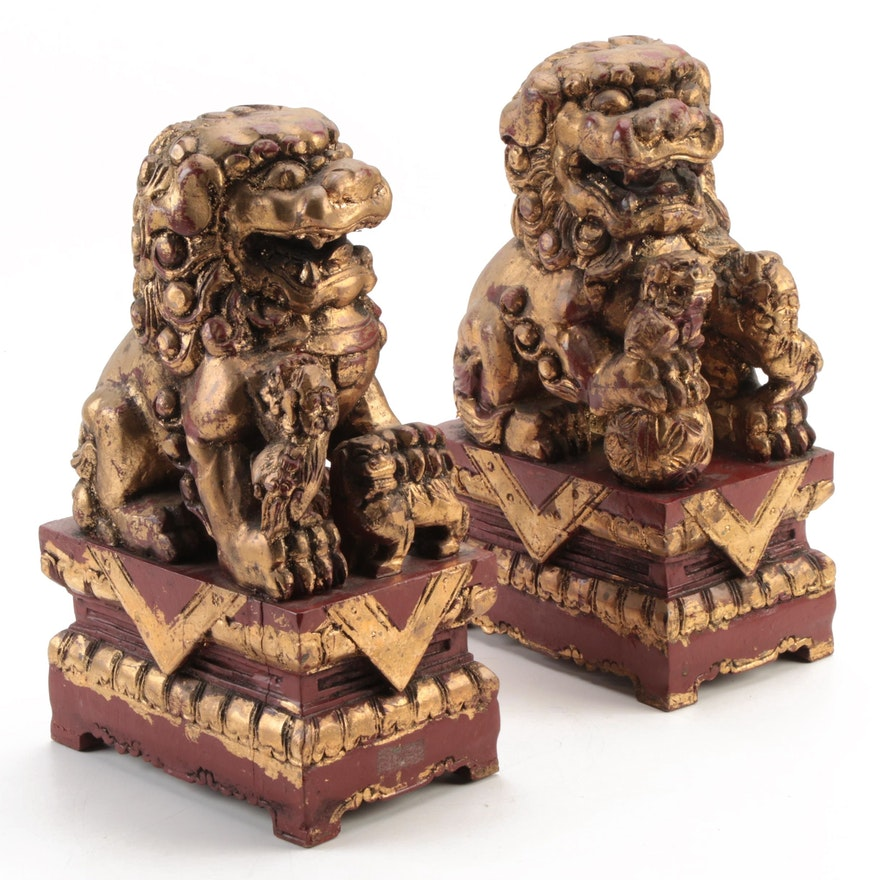Chinese Gilded Lacquered Wood Guardian Lion Figurines