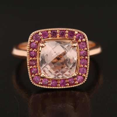 14K Rose Gold Morganite and Pink Sapphire Ring