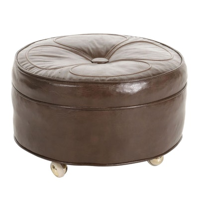 Faux Leather Petal-Top Ottoman on Brass-Tone Casters, circa 1980