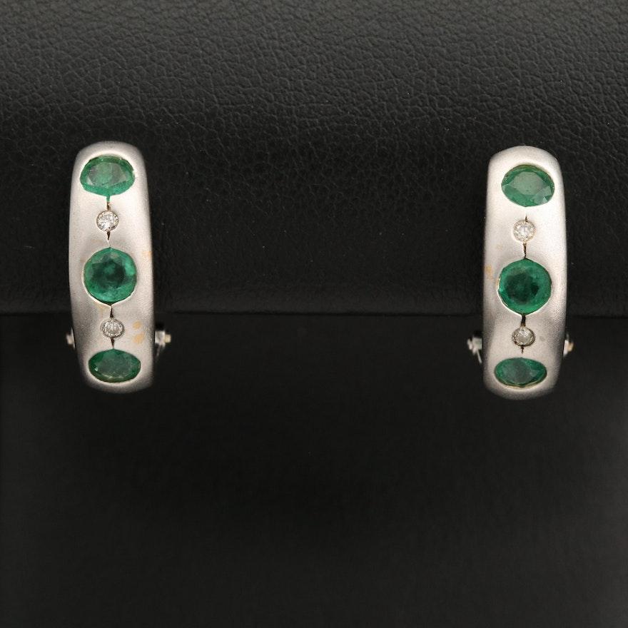 14K Emerald and Diamond Satin Finish J-Hoop Earrings