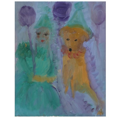 Laura Allgood Abstract Oil Painting of Figure and Dog, Late 20th Century