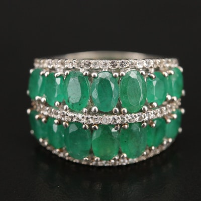 Sterling Emerald and Topaz Multi-Row Band