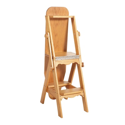 Convertible Oak Chair, Ironing Board and Step Stool, Late 20th Century