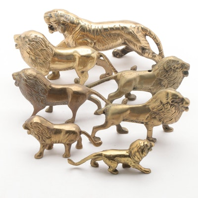 Brass Lion and Tiger Figurines