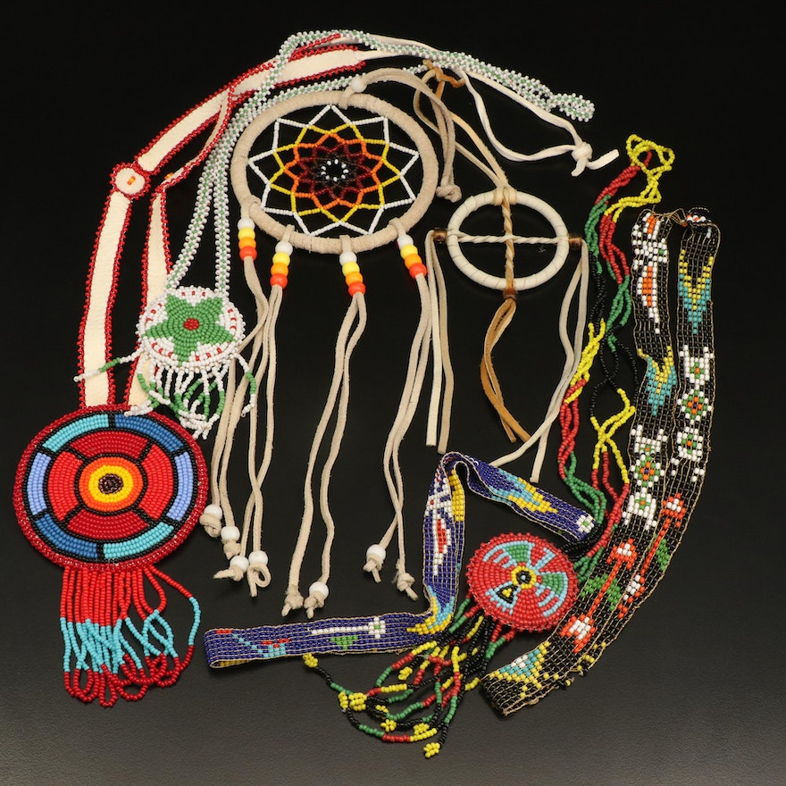 Northern Plains Style Beaded Leather Jewelry