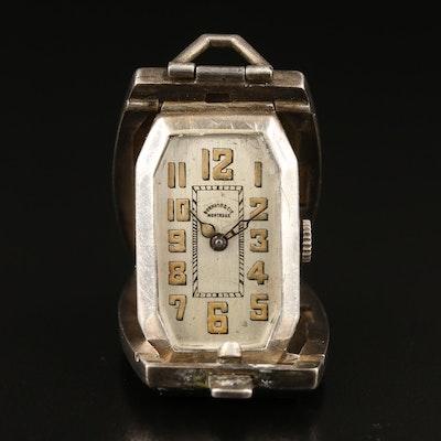 Vintage Bornand & Cie Niello Sterling Silver Desk Clock