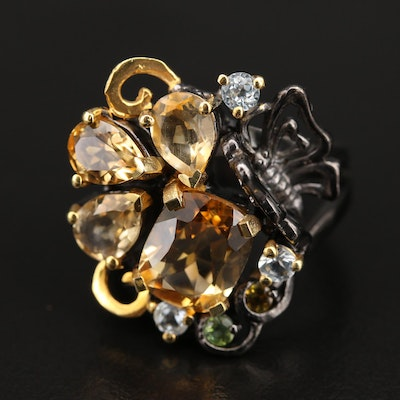 Sterling Citrine, Peridot and Gemstone Butterfly Ring
