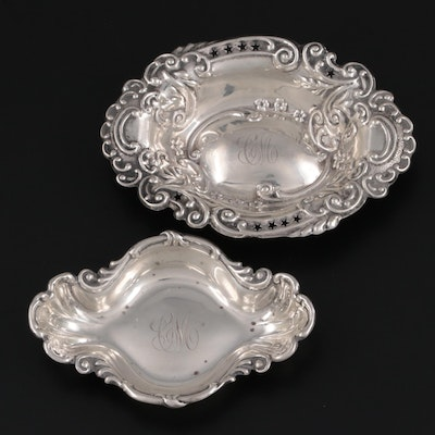 American Sterling Silver Repoussé Nut Bowls, Early 20th Century
