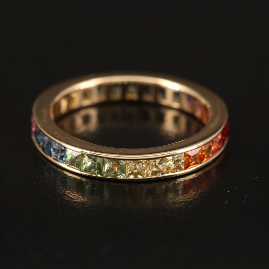14K Sapphire and Ruby Rainbow Eternity Band