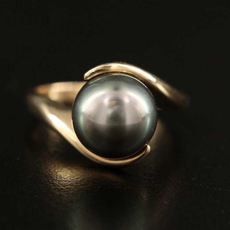 14K Pearl Bypass Ring