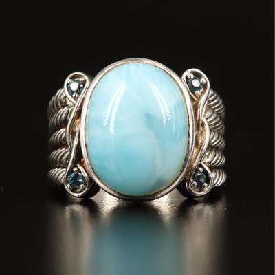 Sterling Larimar and Spinel Ring with Rope Detail