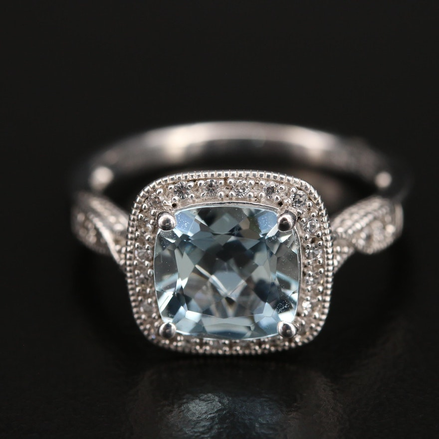 Sterling Aquamarine and Sapphire Ring