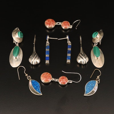 Sterling Earrings Including Abalone and Malachite
