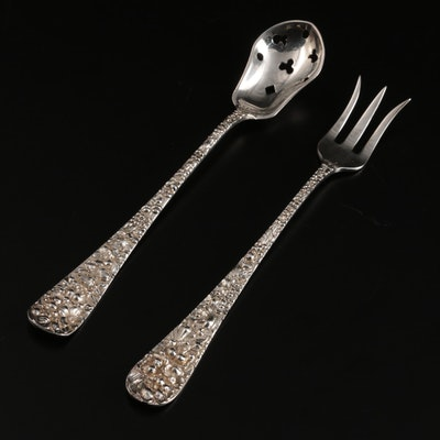 """Kirk-Stieff """"Rose"""" Sterling Silver Relish Fork and Olive Spoon"""