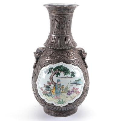 Chinese Ceramic Famille Rose Motif Gunmetal-Glazed Vase