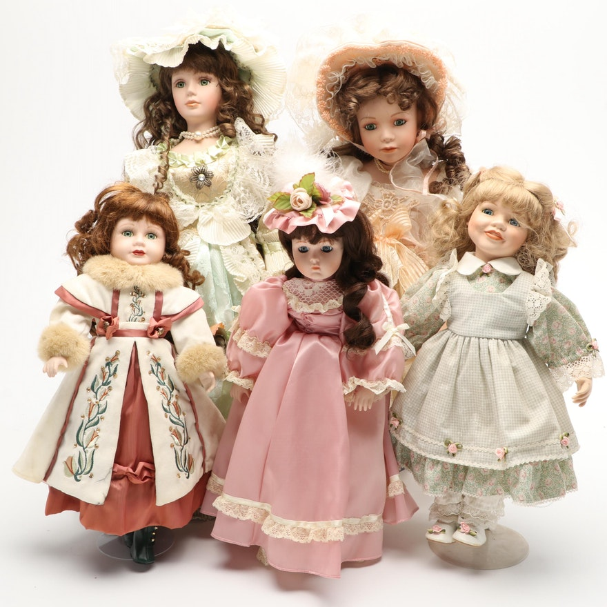 Goldenvale, Duck House and Other Porcelain Dolls with Stands