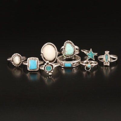 Southwestern Style Rings Including Turquoise and Mother of Pearl