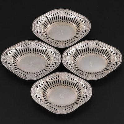 Pierced Rim Sterling Silver Nut Bowls, 20th Century