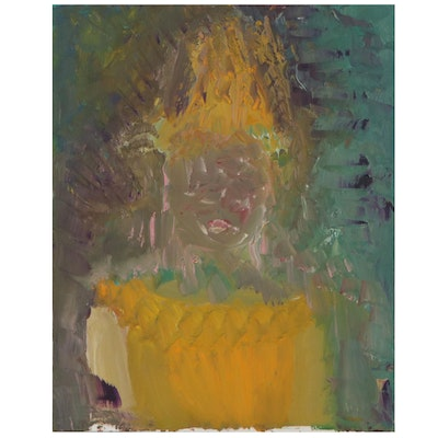 Laura Allgood Abstract Portrait Oil Painting, Late 20th Century