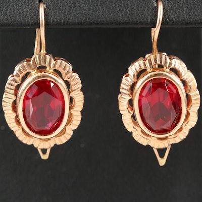 1960s Russian 14K Rose Gold Ruby Drop Earrings