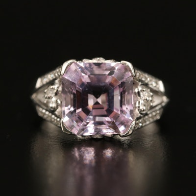 Eva LaRue Sterling Kunzite and Diamond Ring with Heart and Lotus Accents
