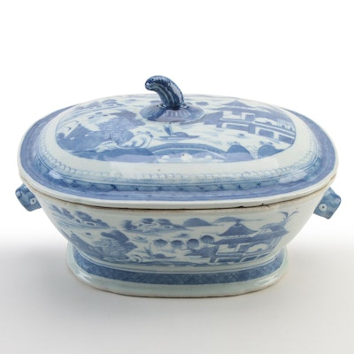 Chinese Export Canton Ware Blue and White Porcelain Covered Tureen, Antique
