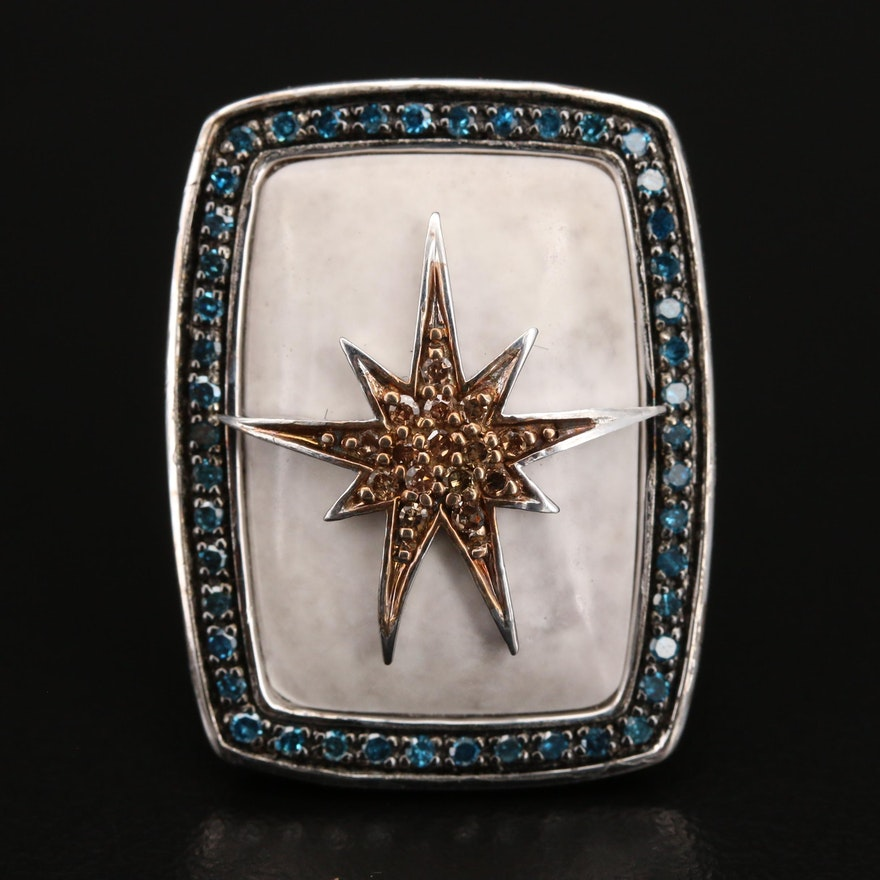 Sterling Diamond and Marble Starburst Ring