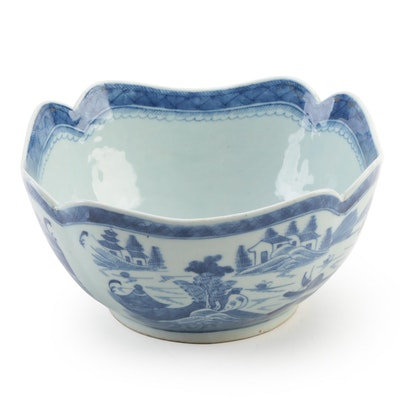 Chinese Canton Blue and White Porcelain Bowl