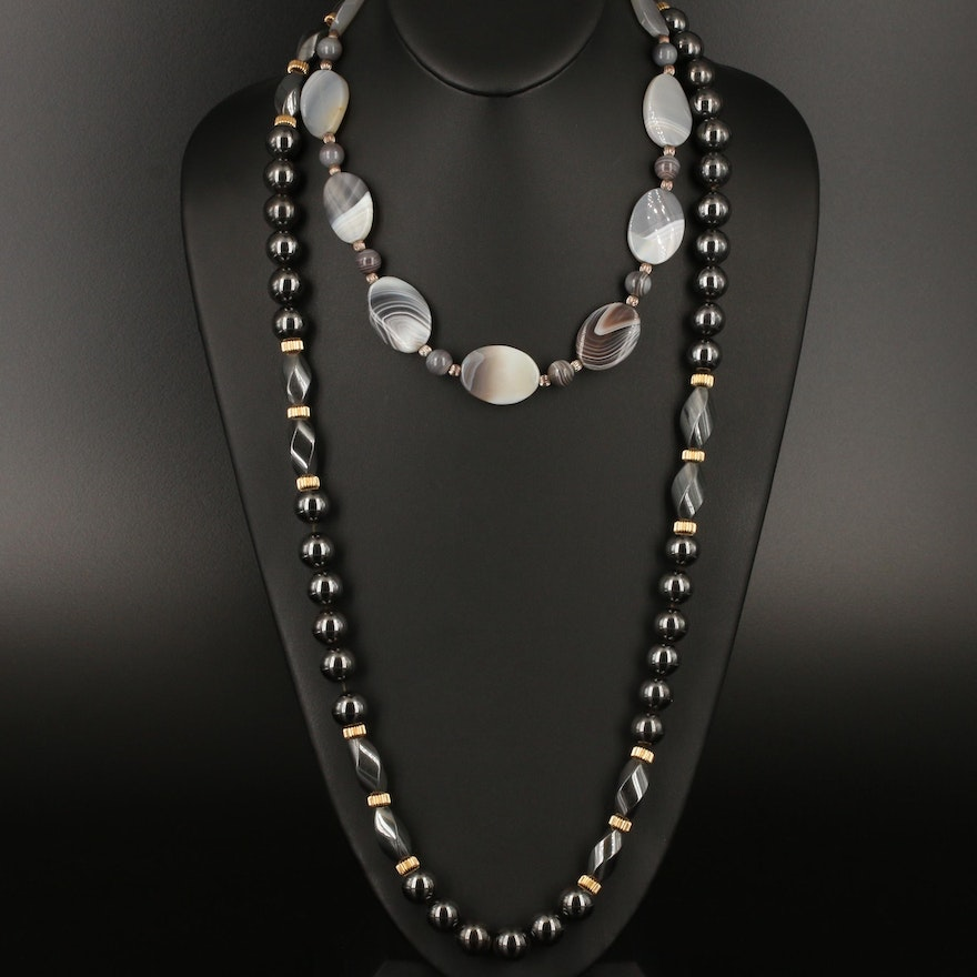 Necklaces Featuring Agate and Faux Hematite
